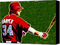 Washington Nationals Canvas Prints - Magical Bryce Harper Canvas Print by Paul Van Scott