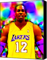 Sports Drawings Canvas Prints - Magical Dwight Howard Laker Canvas Print by Paul Van Scott