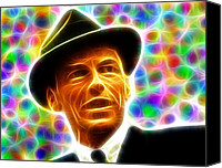 Frank Sinatra Drawings Canvas Prints - Magical Frank Sinatra Canvas Print by Paul Van Scott