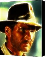 Indiana Drawings Canvas Prints - Magical Indiana Jones Canvas Print by Paul Van Scott
