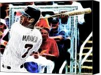 Mauer Mixed Media Canvas Prints - Magical Joe Mauer Canvas Print by Paul Van Scott