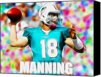Miami Dolphins Canvas Prints - Magical Peyton Manning Miami Dolphins Canvas Print by Paul Van Scott
