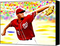 Washington Nationals Canvas Prints - Magical Stephen Strasburg Canvas Print by Paul Van Scott