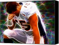 Football Drawings Canvas Prints - Magical Tebowing Canvas Print by Paul Van Scott