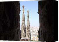 Barcelona Pyrography Canvas Prints - Magical View of Barcelona Canvas Print by Karen Moulder