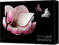 Digital Paint Canvas Prints - Magnolia with Butterflies Canvas Print by Kaye Menner