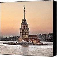 Long Pyrography Canvas Prints - Maidens tower Canvas Print by Ozkan Konu