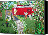 Transportation Tapestries - Textiles Canvas Prints - Mail Car Guest House at LaCaboose B and B Canvas Print by Charlene White