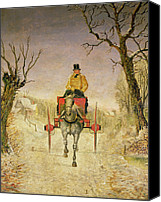 Cart Driving Canvas Prints - Mail Cart Christmas Canvas Print by R R Ripley