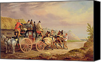 Team Canvas Prints - Mail Coaches on the Road - The Quicksilver  Canvas Print by Charles Cooper Henderson