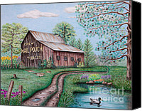 Country Drawings Canvas Prints - Mail Pouch Tobacco Barn Canvas Print by Lena Auxier