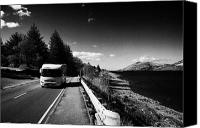 Campervan Canvas Prints - Main A82 Tourist Route Road Along The Shores Of Loch Linnhe Near Fort William Highland Highlands Sco Canvas Print by Joe Fox