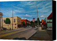 Clayton Painting Canvas Prints - Main Street Clayton NC Canvas Print by Doug Strickland