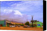 Hawaiian Islands Canvas Prints - Main Street Kaunakakai Canvas Print by James Temple