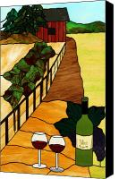 Red Glass Art Canvas Prints - Maine Vineyard Canvas Print by Jane Croteau