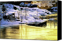 Ice Canvas Prints - Maine Winter along the Androscoggin River Canvas Print by Bob Orsillo