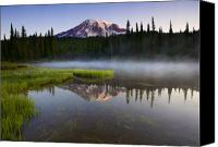 Mt. Rainier Canvas Prints - Majestic Dawn Canvas Print by Mike  Dawson