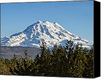 Mt. Rainier Canvas Prints - Majestic Canvas Print by Kelley King
