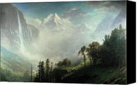 Cloudy Painting Canvas Prints - Majesty of the Mountains Canvas Print by Albert Bierstadt