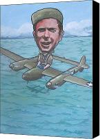 Caricature Canvas Prints - Major Richard Bong Canvas Print by Murray McLeod