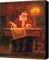 Claus Canvas Prints - Making a List Canvas Print by Greg Olsen