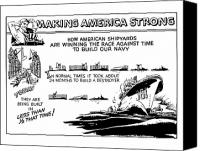 Us Navy Canvas Prints - Making America Strong WW2 Cartoon Canvas Print by War Is Hell Store