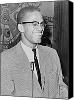 Malcolm X Canvas Prints - Malcolm X 1925-1965 Speaking In 1964 Canvas Print by Everett