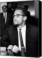 Malcolm X Canvas Prints - Malcolm X, During A Press Conference Canvas Print by Everett