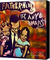 Conservative Painting Canvas Prints - Malcolm X Fatherhood 2 Canvas Print by Tony B Conscious