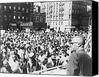 Malcolm X Canvas Prints - Malcolm X, Speaking To An Outdoor Rally Canvas Print by Everett