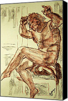 Terra Cotta Drawings Canvas Prints - Male Nude Figure Drawing Sketch with Power Dynamics Struggle Angst Fear and Trepidation in Charcoal Canvas Print by MendyZ M Zimmerman