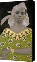 Gold Earrings Drawings Canvas Prints - Malian Woman After Klimt Canvas Print by Carla Nickerson