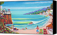 Tourists Painting Canvas Prints - Malibu Shoes Optional Canvas Print by Frank Strasser