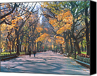 Park Benches Canvas Prints - Mall Central Park New York City Canvas Print by George Zucconi