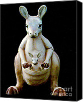 Kangaroo Canvas Prints - Mamma Kangaroo and Joey Canvas Print by Merton Allen