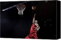Basketball Canvas Prints - Man About To Dunk Basketball Canvas Print by Matt Henry Gunther