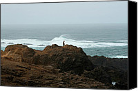 Mendocino Coast Canvas Prints - Man Against the Wave Canvas Print by Lorraine Devon Wilke