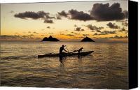 Hawaii Dog Photo Canvas Prints - Man And Dog In Canoe Canvas Print by Dana Edmunds - Printscapes