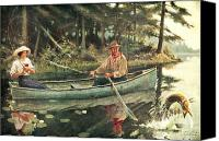 Antique Painting Canvas Prints - Man and Woman Fishing Canvas Print by JQ Licensing
