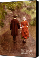 Colonial Man Canvas Prints - Man and Woman in 18th Century Clothing Walking Canvas Print by Jill Battaglia