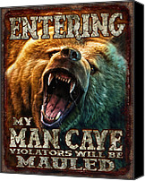 Man Painting Canvas Prints - Man Cave Canvas Print by JQ Licensing