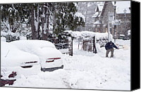 Snowed In Canvas Prints - Man Clearing Snow, Braemar, Scotland Canvas Print by Duncan Shaw