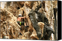 Challenge Canvas Prints - Man Climbing Rock Canvas Print by Ulrike Maier