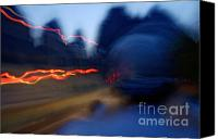 Peak One Canvas Prints - Man driving a motorbike at dusk on a country road among the limestone peaks Canvas Print by Sami Sarkis
