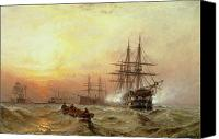 Rowing Canvas Prints - Man-o-War firing a salute at sunset Canvas Print by Claude T Stanfield Moore