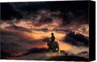 Setting Canvas Prints - Man on Horseback Canvas Print by Ron Sanford and Photo Researchers