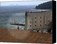 Dubrovnik Canvas Prints - Man on the Roof in Dubrovnik Canvas Print by Madeline Ellis