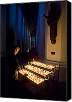 Frauenkirche Canvas Prints - Man Prays By Candles At Frauenkirche Canvas Print by Greg Dale