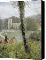 Man And His Horse Canvas Prints - Man Riding to His Lady Canvas Print by John William North
