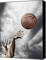 Basketball Canvas Prints - Man Throwing Basketball In Air, Close-up Of Hands Canvas Print by Daniel Grizelj